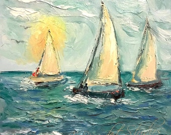 Original oil painting Sailboats abstract palette knife impressionism on canvas fine art by J. Beaudet