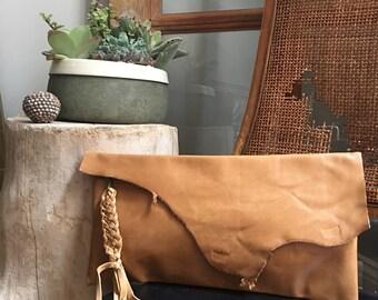 Raw Edge Clutch - Boho Clutch -  Boho Style - Raw Edge Bag - Aged Rattan Leather Clutch - Braided Tassel - One of a Kind