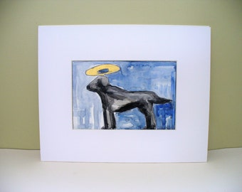 Black Lab Dog Drawing Pet Portrait Sympathy Loss of Dog