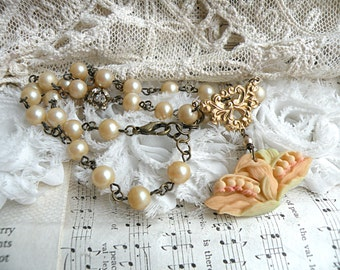 muguet necklace lily of the valley assemblage may spring cottage chic upcycled vintage jewelry