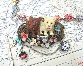 spring terrier dog collage necklace assemblage upcycle enamel flower pampered pooch charm pastel