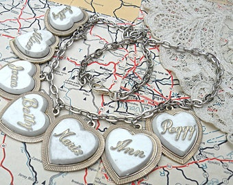 vintage name necklace assemblage heart charms altered art repurposed jewelry romantic cottage chic
