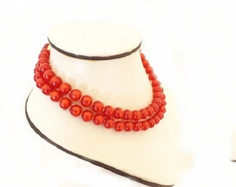 Vintage 2 Strand Necklace with Glass Beads, Choker Necklace, Red Jewelry, Costume Jewelry, Women's Accessories, Fashion Jewelry