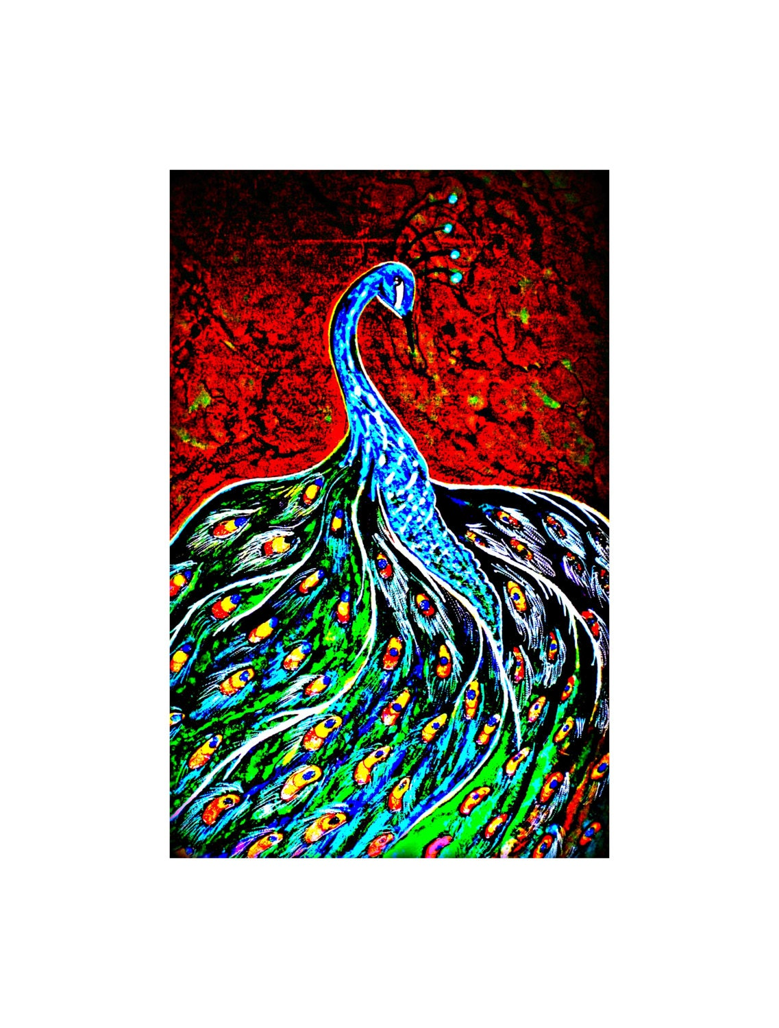 Peacock decor peacock wall art peacock paintings peacock for Peacock wall art