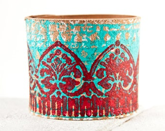 Turquoise & Coral Bracelet Cuff - Teal Red Turquoise Leather Jewelry