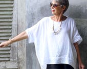 LINEN, Alit Oversized Top, Resort Wear, Bohemian, Island Style, Beach Coverup, Plus Size, Black, White, Gray, Natural, Gold