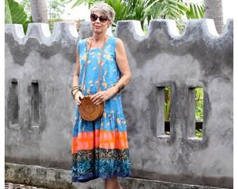 BATIK, Dropped Waist, Dewi, Size 10-20, Sleeveless, Bali, Indonesia, Choice of Fabrics, Resort Wear, Tropical, Summer, Rayon