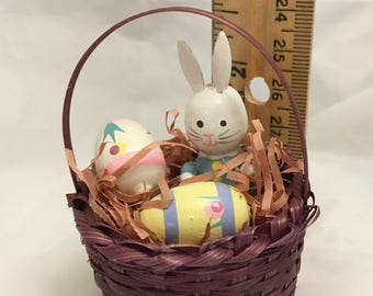 Tiny Easter basket with Wooden Bunny Rabbit and Eggs