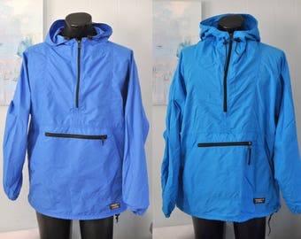 Vintage LL Bean Windbreaker Rain Shell Track Jacket Aqua Blue Teal Green 80s 90s Mens Large XL