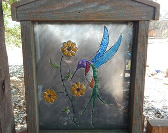 Tin Punch Hummingbird Display  ~  Tin Punch Boxed Hummingbird in Frame with Glass  ~  Traditional Tin Punch  ~  SW Tin Punch Hummingbird