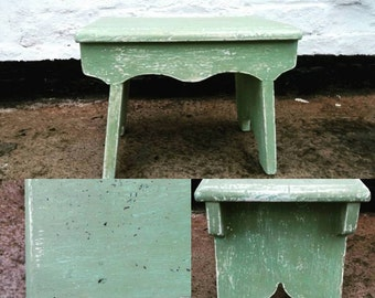 Little vintage milking stool repainted in miss mustard seed milk paint luckett's green sealed with white wax