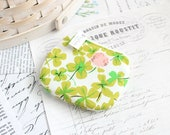 Small Clover Coin Purse Pink and Green Change Purse Cute Zippy Pouch