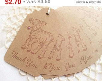 SALE Little Lamb Baby Shower Thank You Tags Pink Flower Set of 8