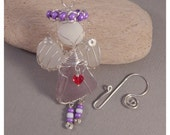 Sea Glass Angel - Lavender body with white sea glass wings and beach stone head - purple halo