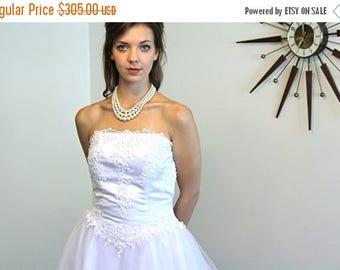 Spring SALE 25% Vintage Wedding Dress Strapless White Tulle 7 Layer Full Skirt Ballerina Netting Satin Lace Pearl Beads Long Sheer Train Pri