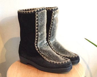 Suede/Fur Eskimo Boot // Womens 8