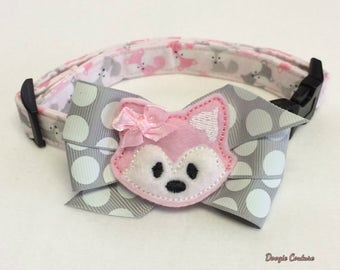 Friendly Pink Fox Dog Collar Size XS Through Large by Doogie Couture