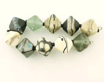 Lampwork Beads Set  Organic, Etched Matte, Gray, Brown, Ivory, Silver, Tan, Metallic Black