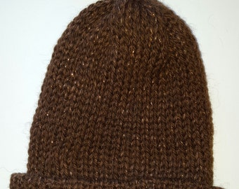 Sparkly Brown Knitted Shetland Wool Hat