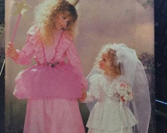Butterick 6851 COSTUME sewing pattern WEDDING dress Princess Girls Children S M L XL 7 ~14 Veil Princess Fairy dress ruffled layers Peplum