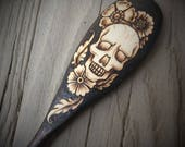 Skull with Flowers Wooden Spoon - Made to Order