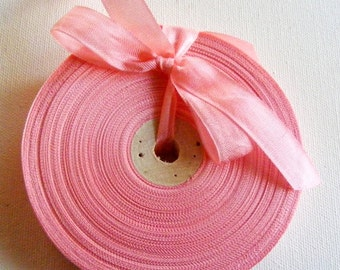 Vintage 1930's-40's French Woven Ribbon -Milliners Stock- 5/8 inch Salmon Pink