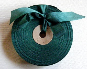 Vintage 1930's-40's French Woven Ribbon -Milliners Stock- 5/8 Inch Gorgeous Deep Jade Green