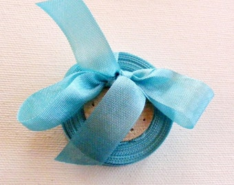 Vintage French 1930's-40's Woven Ribbon -Milliners Stock- 5/8 inch Light Peacock Blue