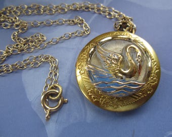 Glass Swan Front Round Gold Plated Locket Necklace