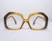 60s vintage eyeglasses frames. honey gold oversized glasses. hexagon shape glasses