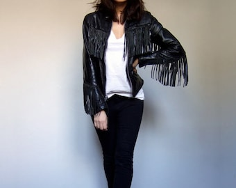 Vintage Leather Jacket 70s Fringe Jacket Black Leather Jacket Fitted Motorcycle Jacket Biker Jacket - Small to Medium S M