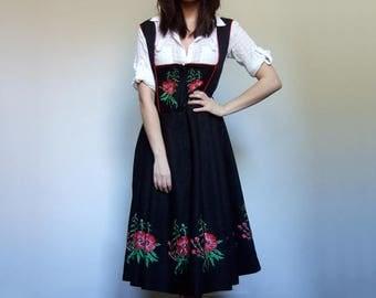 RESERVED // Dirndl Dress Embroidered Dress Women Vintage German Dress Black Floral Folk Dress - Large to Extra Large L XL