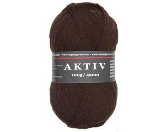 Supergarne Sock Yarn Aktiv superwash 4-ply Uni Solid 100g/459yd #2515 dk. brown