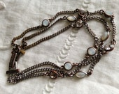 1970s Vintage Givenchy Chain 3 Link Bracelet with Rhinestones Moonstones Very Pretty Dainty