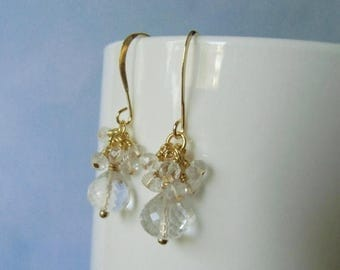 January sale Crystal quartz briolette, dangle earrings, wire wrapped, 22 ct gold plated earrings