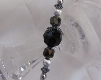 """Hat Pin Silver Beaded Brooch Lapel Hat Hijab Scarf Pin Stick 6"""" Inch Long - Many to Choose From! (#11)"""