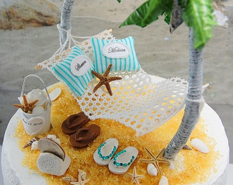 "Beach Wedding Topper FITS 5"" Cake Top Rustic Honeymoon Hammock/Sea Shell Design Custom Made To Order Your Colors. See Details! Personalized"