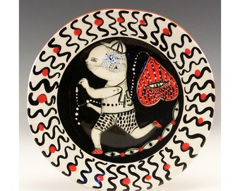 Small Plate - Painting by Jenny Mendes on a round ceramic tapas plate