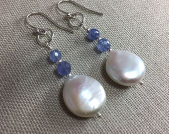 Freshwater Coin Pearl and Tanzanite Earrings in Sterling Silver