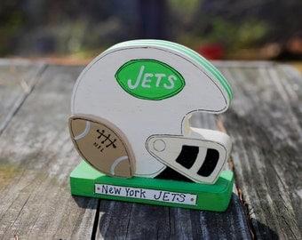 "New York Jets 3.5"" - Wooden Football Helmet - Handmade Wood Figure - Gift for NY Jets Fan"