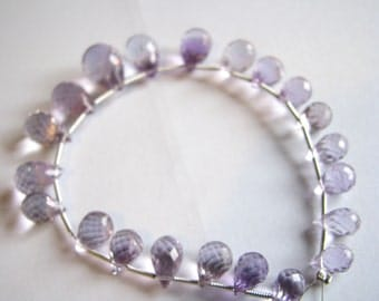 Large Pink Amethyst drops, faceted teardrop briolette, full 7.5 inch strand, 9-17mm (w41)