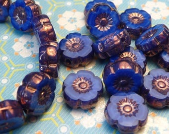 Cobalt Blue Glass Flower beads 8mm  - 6pc