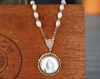 Antique Assemblage Necklace with Holy Image Rosary Beads and Pyrite
