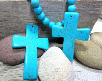 2 Turquoise cross pendants howlite jewelry charms southwestern jewelry supply 40mm x 60mm GP2-(A1A4)