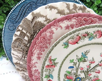 """Set of 4 Mismatched Ironstone Transferware China 10"""" Dinner Plates, Mix and Match, Colorful, Vintage Wedding or Tea Party Wall Decor, DP80"""