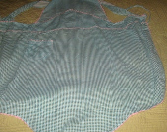 Vintage Green Gingham Cotton Full Apron