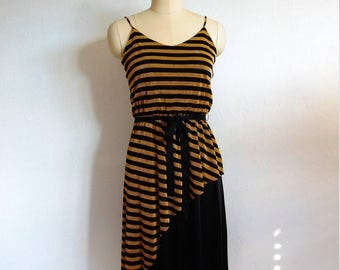 70s BLONDIE disco dress in metallic gold stripes size small