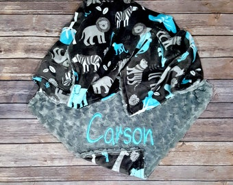 Baby Boy Blanket,Jungle Tales Topaz,Gray Minky Swirl,Personalized,Baby Boy,Toddler,Stroller,Crib,Zoo,Animals,Minky Blanket