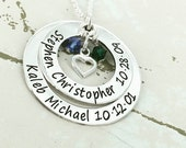 Christmas 2016 15% off - Personalized Mother Necklace w/ TWO 2 crystals & heart charm - Birthstone Jewelry - Mother Necklace - Mom Jewelry -