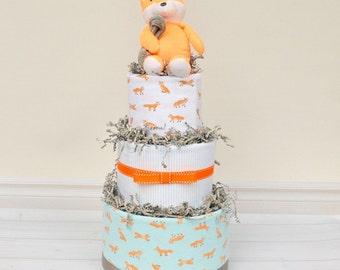 Woodland Baby Shower, Fox Diaper Cake, Fox Baby Shower Decoration, Woodland Baby Shower Centerpiece, Woodland Creatures, Forest Friends